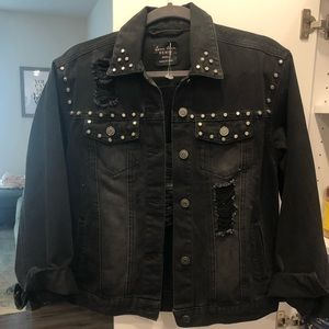 Never worn black distressed jean jacket